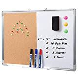 Marble Field 24'' x 18'' Magnetic Whiteboard & Cork Board Combo Board Set, Wall Mounted Notice Bulletin Board Dry Erase/Cork Board Combination with Aluminum Frame