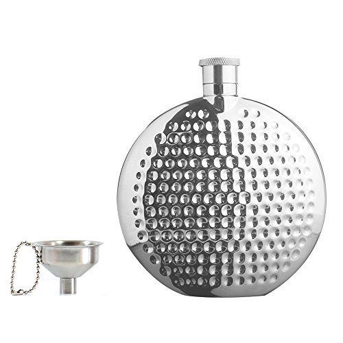 Portable 6 OZ Round Hip Flask & Funnel Set with Gift Box,18/8 304 Food Grade Stainless Steel Hammered Hip Flask,Pocket flagon,Camping Wine Pot,Gift for Men or Women by Quality Life - Designer Flask