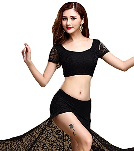 Women Lace Belly Dance Tops Skirts Indian Dance Costume with Waist Chain Black L (Belly Dance Costumes Large Ladies)