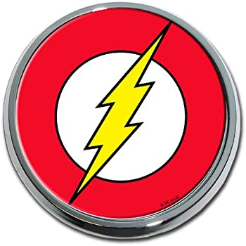 Amazoncom Dc Comics The Flash Logo Premium Chrome Metal Auto