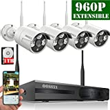 【2019 update】OOSSXX 8CH 1080P HD Wireless Video Security Camera System,4PCS 960P Megapixel Wireless Weatherproof Bullet IP Cameras,Plug and Play,70FT Night Vision,P2P,App, HDMI Cord&1TB HDD Pre-install