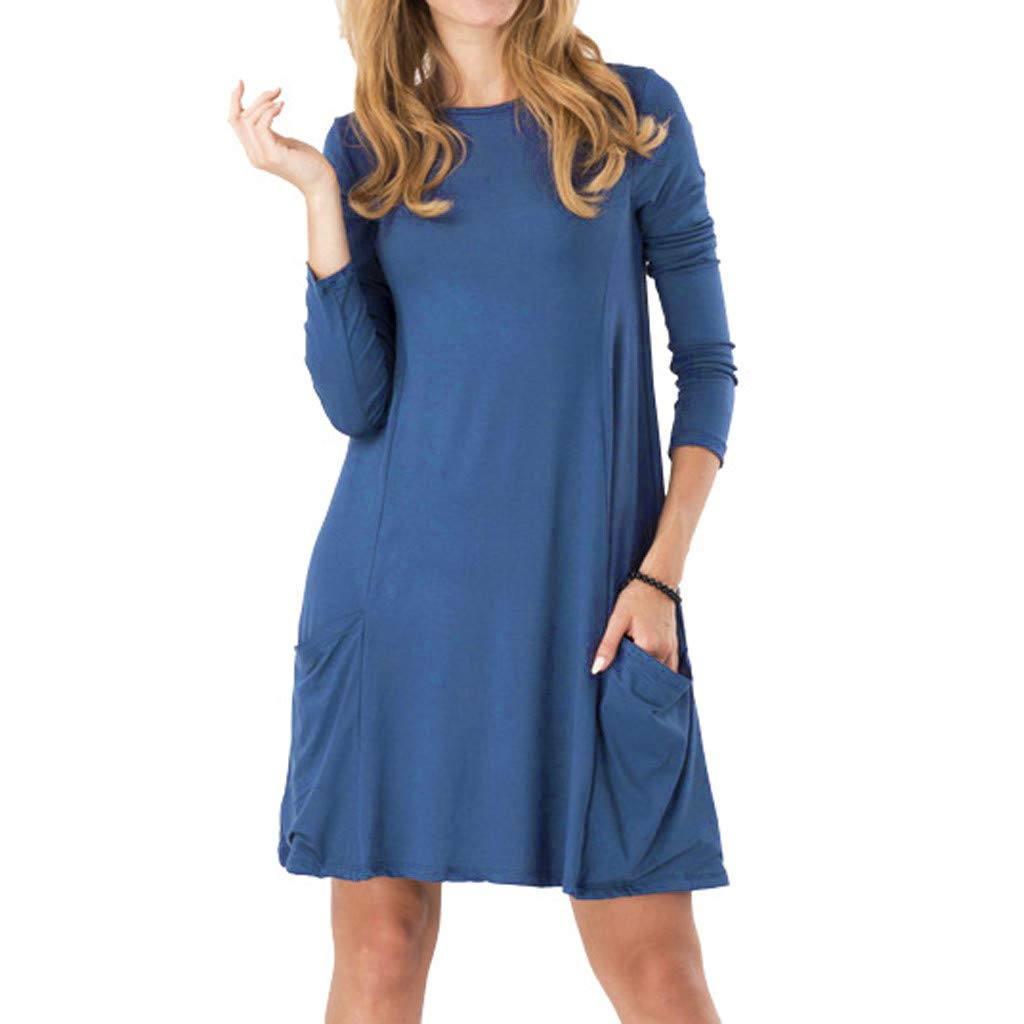 Women's Round Neck Long Sleeve Pocket Dress, Huazi2 Solid Casual Knee Length Loose Slim Fit Dress by Huazi2