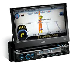 """Master the road with the Boss Audio BV9980NV 7"""" touchscreen monitor with built- in DVD player and GPS navigation. Your next road trip will be a breeze with pre-loaded maps for all 50 US states and Puerto Rico Turn on the radio for the latest ..."""