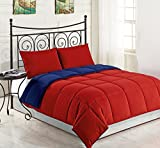 Fenesta Décor 100 % Egyptian Cotton Reversible Comforter With 2 Matching Pillow shams Set King /Cal King (Blood Red/ Royal Blue)