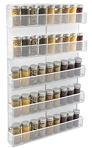 (ESYLIFE 5 Tier Wall Mount Spice Rack Organizer Kitchen Spice Storage Shelf - Made of Sturdy Punching Net, White)