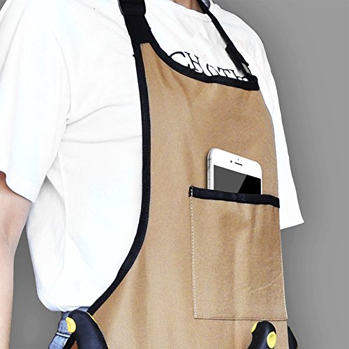 BOJECHER Tool Apron - Professional Heavy Duty Work Apron with 14 Tool Pockets and Adjustable Belt Water-resistant Gardening Woodshop Aprons for Men & Women, Carpenters Bakers and Machinists by BOJECHER (Image #2)