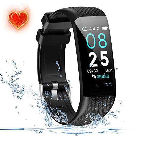 Fitness Tracker Waterproof(IP67) Fitness Watch with Heart Rate Monitor,Sleep Tracking, Step Counter Compatible Android iOS Phones Activity Tracker for Workouts for Men Women Kids,Black (Heart Rate Monitor Tomtom)
