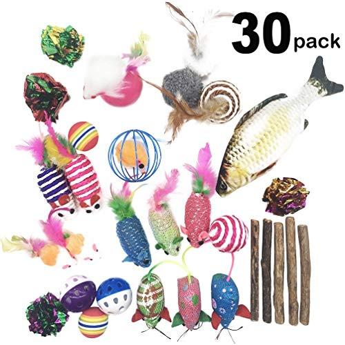 30Pcs Cat Toys Kitten Catnip Toys Assorted, Fish, Interactive Feather Teaser, Fluffy Mouse, Crinkle Rainbow Balls Bells Toys for Puppy Kitty