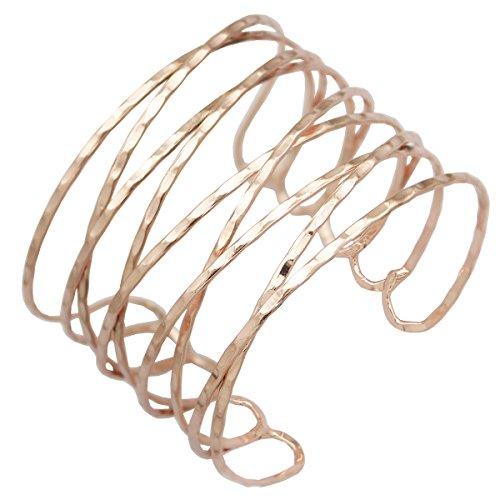 RechicGu Rose Gold Greek Roman Twisted Cross Cage Bracelet Armband Upper Arm Cuff Armlet Bridal