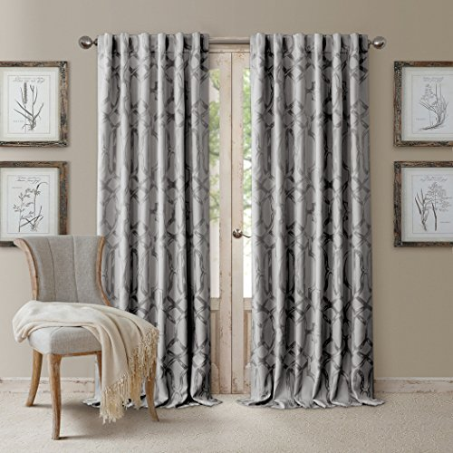 Elrene Darla Lattice Ironwork Design Blackout Room Darkening Convertible Rod Pocket or Back Tab Single Window Curtain Panel by, 52 Inch Wide X 95 Inch Long, Light Gray