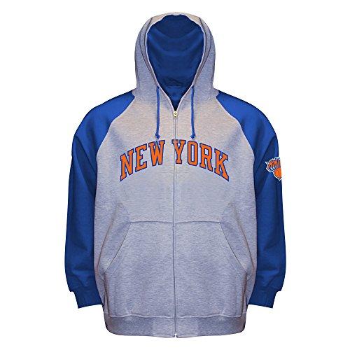 Profile Big & Tall NBA New York Knicks Long Sleeve Zip Raglan Fleece Jacket, Gray Heather/Royal, 3X - Nba Lightweight Jackets