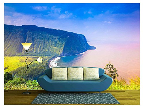 wall26 - Waipio Valley Lookout on Big Island, Hawaii - Removable Wall Mural | Self-adhesive Large Wallpaper - 66x96 inches by wall26
