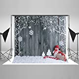 Photo : Kate Christmas Background Photography Christmas Gifts Wood Wall No Wrinkle Seamless Cotton Bokeh Backdrops for Photography Studio 7x5ft