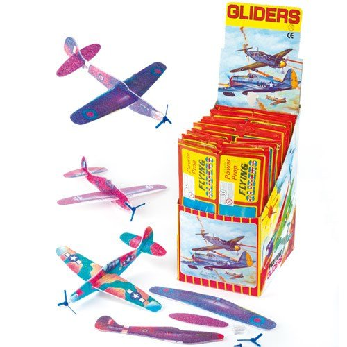 Baker Ross Power Prop Flying Gliders (Pack of 6) Easy Assembly Airplane Toy Glider Planes for Kids Toys, Birthday Party, School Classroom Rewards or Carnival Prizes - Fighter Power Cards