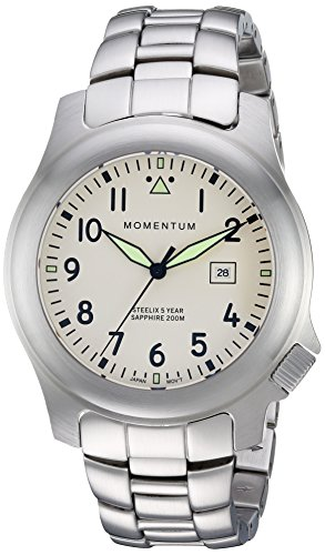 Men's Sports Watch |Steelix Nylon Adventure Watch by Momentum | Sapphire Crystal | Stainless Steel Watches for Men | Analog Watch with Japanese Movement | Water Resistant(200M/660FT)Classic Watch - Ivory / 1M-SP74IS0
