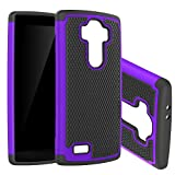 G4 Case ,Powertrue Dual Layer Hybrid Armor Protective Case Cover for LG G4 (Purple)