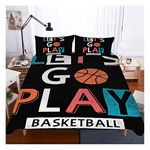 Basketball Bedding Set Full Size,3D Sports Basketball Duvet Cover Set 3 Piece (1 Duvet Cover 2 Pillowcases) Basketball Bedspread for Kids