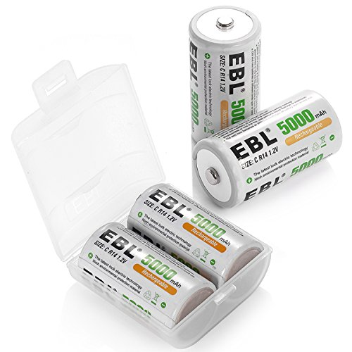 EBL C Cell Batteries 4-Pack 5,000mAh High Energy Rechargeable C - Cell 4 Batteries C Pack