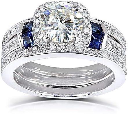 Amazon.com: round-cut Moissanite Diamond & Blue Sapphire ...