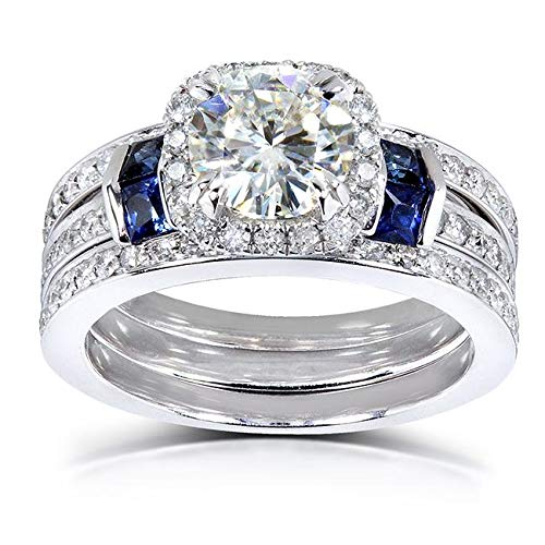 Round-cut Moissanite Bridal Set & Sapphire 2 CTW 14k White Gold (3 Piece Set)
