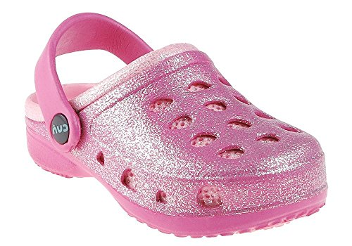 Toddler Pink Combo Footwear - Capelli New York Allover Glitter Injected Toddler Girls Clog With Back Strap Pink Combo 4/5