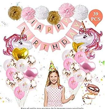 Lomire® Decoraciones Fiesta de Cumpleaños Unicornio,Happy ...