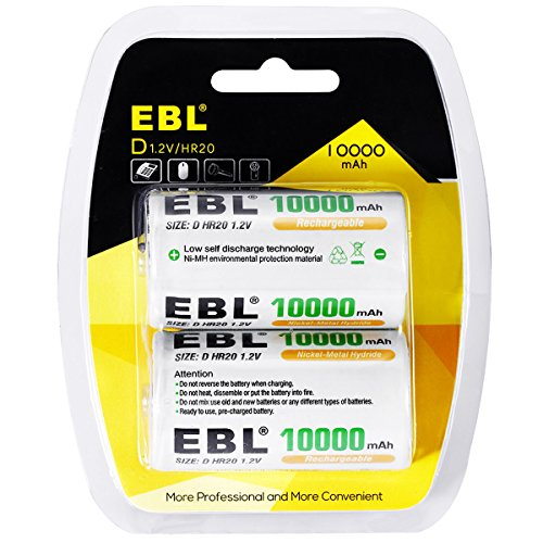 EBL D Cells Rechargeable Batteries Ni-MH 10,000mAh with Retail Package, 2 Packs