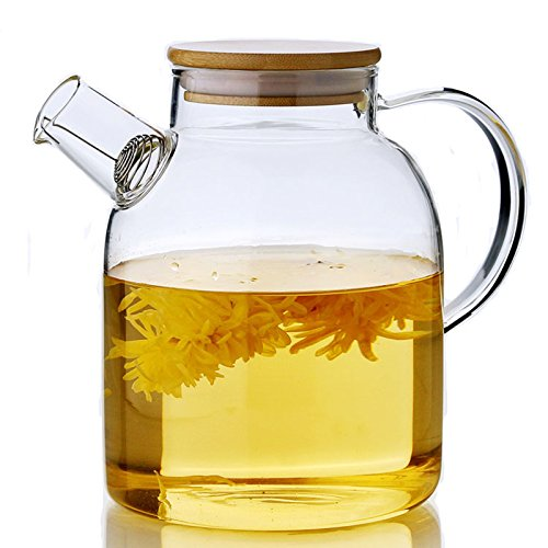 Gobize 63 Oz Large Capacity Borosilicate Glass Pitcher with Natural Bamboo Lid and Stainless Strainer