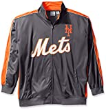 MLB New York Mets Men's Team Reflective Tricot Track Jacket, 4X/Tall, Charcoal/Orange