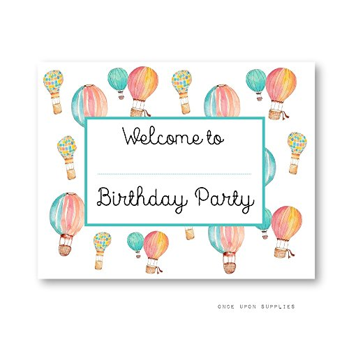 Hot Air Balloon Birthday Party Decoration Welcome Sign, for Kids' Birthday Party, by Once Upon Supplies, 8x10