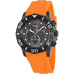 Swiss Military Hanowa Men's Oceanic Chrono 06-4196-30-009-79 Orange Rubber Swiss Quartz Watch with Grey Dial