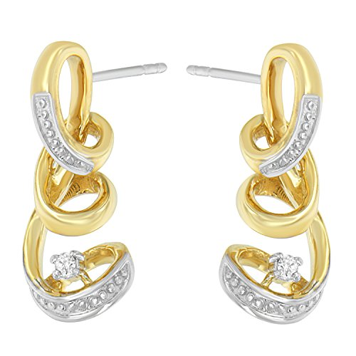 - Espira 10K Two Tone Gold Round cut Diamond Earring (0.05 cttw, J-K Color, I2-I3 Clarity)