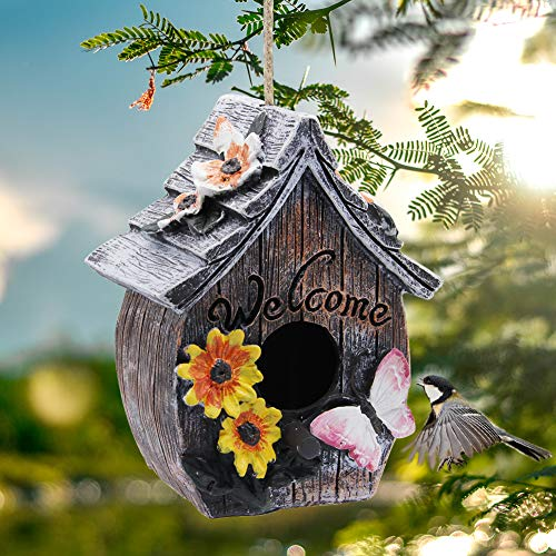 MorTime Butterfly and Flowers Welcome Decorative Hand-Painted Bird House, Retro Arts and Crafts Country Cottages Bird House, Outdoor Decor and Interior Wooden House Decor (Resin)