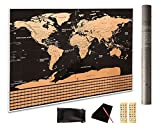 "PREMIUM Scratch off the World Map Gift Ready 32.5""x23.4"" INCLUDES scratch tool, wipe cloth, memory stickers & storage bag; Track your ADVENTURES - Outlines States & Provinces"