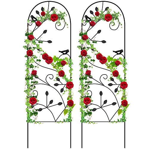 Amagabeli 2 Pack Garden Trellis for Climbing Plants 46 x 15 Black Sturdy Iron Potted Support Vines Vegetable Flower Patio Metal Wire Lattices Grid Trellises for Ivy Roses Grape Cucumber Clematis