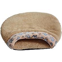 Freerun Indoor Fleece Pet Sleeping Bag Warm Soft Puppy Small Dog Cat Kitten Cave Bed (Brown, L)
