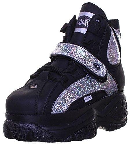Buffalo - Zapatillas de Piel para mujer Negro negro/plateado: Amazon.es: Zapatos y complementos