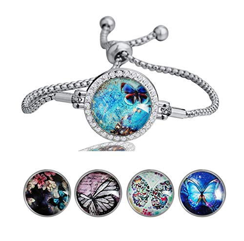 MaXing Custom Image Adjustable Snap Charm Slider Crystal Bracelet 18mm Snaps Noosa Glass Button (Butterflies-Butterfly)