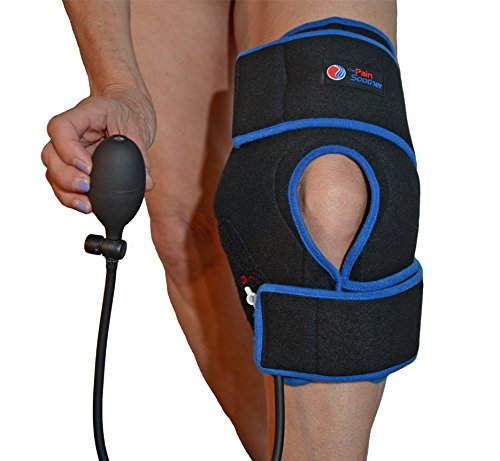 Reusable Ice Pack for Knee - Cold Therapy Compression Wrap with Air Pump for Pain Relief - Long Cooling Retention Gel Pack - Inflatable Knee Brace for Sprains, Swelling & Sports Injuries (Black) by The Pain Soother