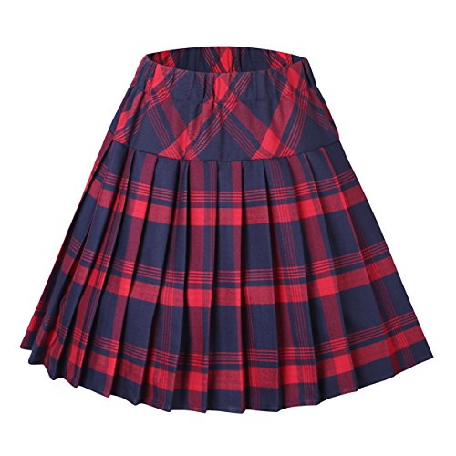 Urban CoCo Women's Elastic Waist Tartan Pleated School Skirt (XX-Large, Series 1 red)