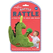 eeBoo Soft Plush Baby Rattle, Dinosaur