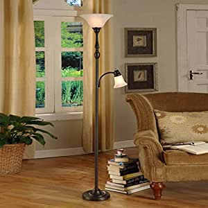 Eye protection floor lamp dark brown European-style LED 2 floor lamp, luxury American-style villa sofa bedside lamp 180cm high Umbrella lightA+