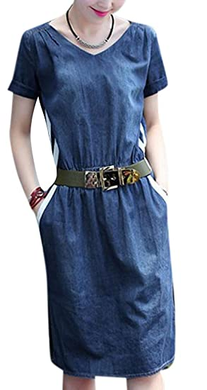 e40e0d2a66f Enlishop Women s Blue V Neck Short Sleeve A Line Tunic Pleated Denim ...