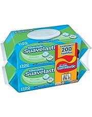 Kleenbebé Suavelastic Toallitas Húmedas para Bebé, Paquete con 200 piezas (2 paquetes de 100 toallitas c/u)