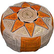 Moroccan Poofs Hand Made 100%Leather Ottoman Comfortable Round Design Foot Stool