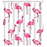 """Pink Flamingo Shower Curtain Hooks Urijk Flamingo Printed Shower Curtain, 71"""" x 71"""", Mildew Proof Waterproof Washable Polyester Fabric Shower Curtain, Anti-Bacterial Non Toxic Eco-Friendly No Odor Bathroom Decor Set with Hooks"""