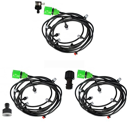 MonkeyJack 3 Sets 15m Drip Irrigation Kit Micro Drip System for Flower Bed Patio Plant by MonkeyJack