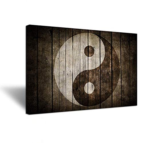 """iHAPPYWALL Hello Artwork Vintage Wall Art Canvas Black and White Yin Yang Symbol on Wood Backgroud Spiritual Peace Tao Gossip Chinese Religion Giclee Canvas Print for Living Room 24""""x36"""""""