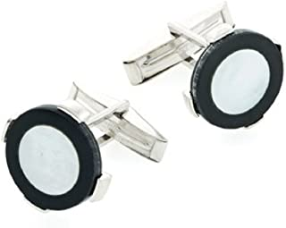 product image for JJ Weston Sterling Silver Onyx and Mother of Pearl Cufflinks. Made in The USA