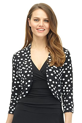 Rekucci Women's Soft Knit Rounded Hem Stretch Bolero Shrug (Small,Black/White Scatter Dot) (Dot Cardigan Sweater)